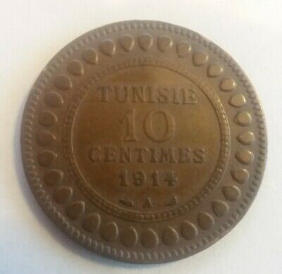 1914 A Tunisia Tunisie 10 Centimes Km #236 1332 Antique Coin Collectible Africa