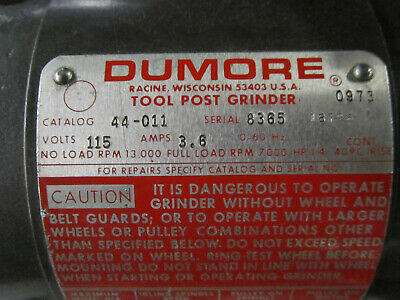 Dumore tool post grinder in  superb condition, Model 44-011