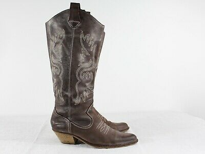 Vtg Pato Brown Women Cowboy High Boots Leather Cuban Mexico Size US8 UK6 EU40