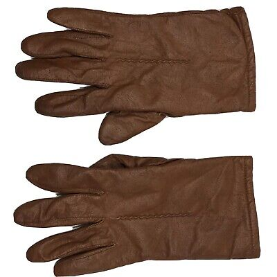 Vintage FOWNES Lined Brown Soft Leather Gloves Womens Size 9