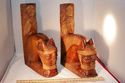 Vintage Folk Art Hand-Carved Wood Bookends, Horse Heads,1960s, beautiful!
