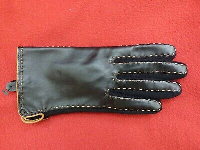 Womens Black Real Leather Gloves M Wool Palms