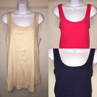 Faded glory women's 3 pack tank XL 16-18 Navy, pink, Beige ribbed style