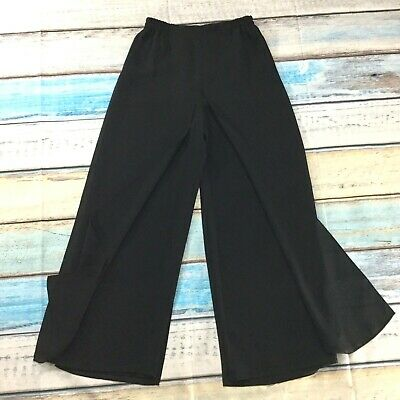 Adrianna Papell Womens Pants size 6P 6 Petite Black with Chiffon Panels Formal