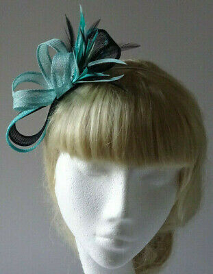 Acqua Green/jade green /black feather fascinator on headband for wedding