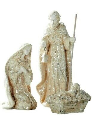 Victorian Trading Co NWD 3pc Antique White Gleaming Nativity Set 4A