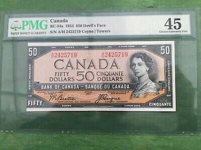 Bank Of Canada 1954 Fifty Dollar Devils Face Out Of Register Printing Error