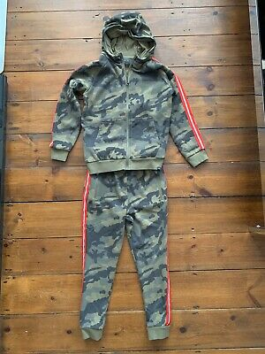 Boys NEXT Age 9 Years Tracksuit Khaki Green Camouflage Pattern with Contrast Sid