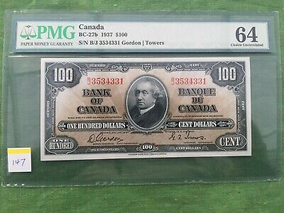 Bank Of Canada 1937 One Hundred Dollar Graded Bank Note Gordon Towers.