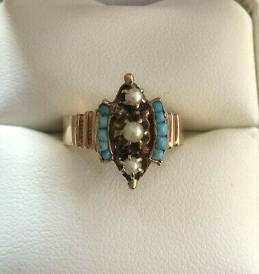 Antique Turquoise & Seed PearlEdward Ring Size 6 Solid Gold 14k Or 10k. Rare.