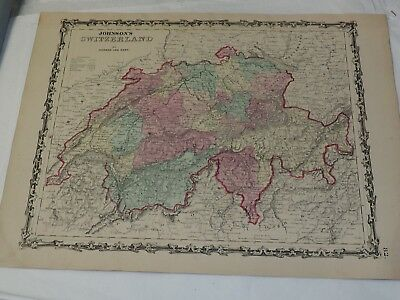 1863 Johnson's SWITZERLAND Hand Colored 14 x 18""