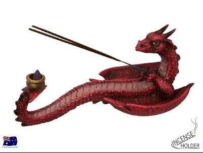 Red Dragon Incense and Candle Holder Figurine Incense Sticks & Candle DRAGCANIN