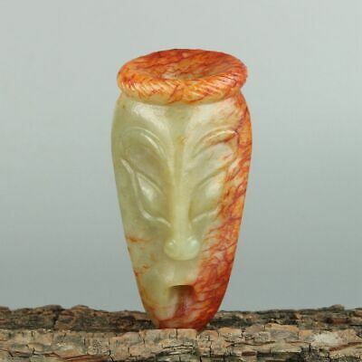 Chinese Exquisite Hand carved Human face Carving Hetian jade statue