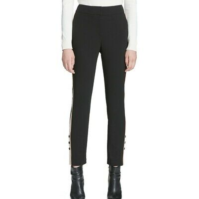 CALVIN KLEIN NEW Women's Contrast Stripe And Button On Ankle Dress Pants TEDO