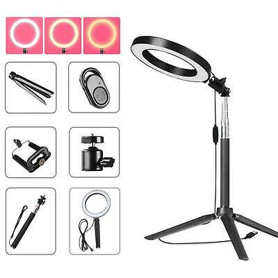 Studio LED Photography Ring Light Photo Video Makeup Stand Dimmable Lighting UK