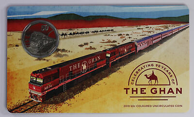 2019 90 Years of The Ghan 50c Coloured Uncirulated Coin D2-1622