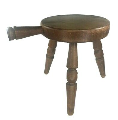 Vintage Three-Legged Wood Milk Stool with handle Wooden milking stool chair