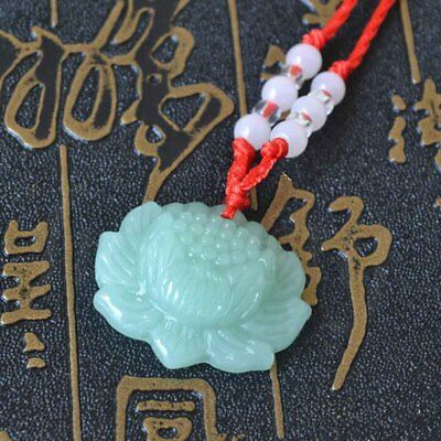 2pcs Jade Carved Lotus Flower Pendant Beads Rope Chain Lucky Amulet