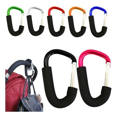 2 X Buggy Clips Coloured Large Pram Pushchair Shopping Bag Hook Mummy Carry Clip