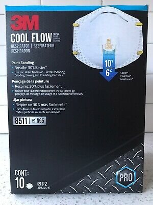 3M Cool Flow 8511 N95 Face Mask Respirators - Box of 10 - WILL SHIP TODAY