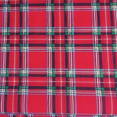POLYCOTTON REMNANT OFFCUT RED PLAID TARTAN CHECK  65 cm x 110 cm CRAFT Fabric