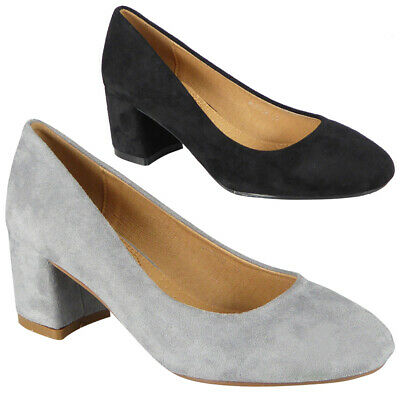 Womens Court Shoes Ladies Mid Block Heel Comfy Sole Faux Suede Work Office Size