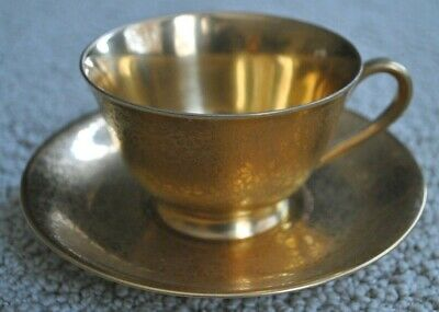 Stouffer Bavaria Gold Tea Cup & Saucer, Etched Floral Pattern
