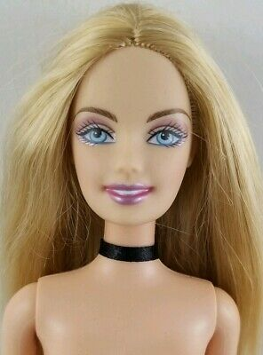 Nude Barbie Doll Halloween Witch Blonde Hair Belly Button Body Choker Necklace
