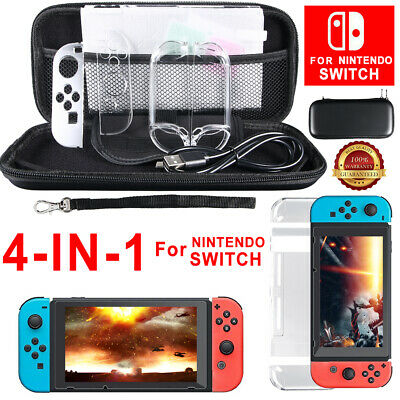4 IN 1 Case Bag + Shell Cover + Charging Cable + Protector for Nintendo Switch
