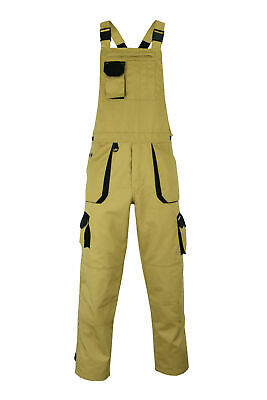Heavy Duty Work Trousers - Bib and Brace Overalls Dungarees Knee Pad Pockets