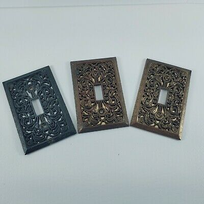 Lot of 3 Victorian Style Brass Light Switch Covers Switchplates.