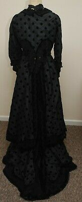 Exquisite 1880's Victorian Costume Jacket Dress Beads/Lace For Some Restoration