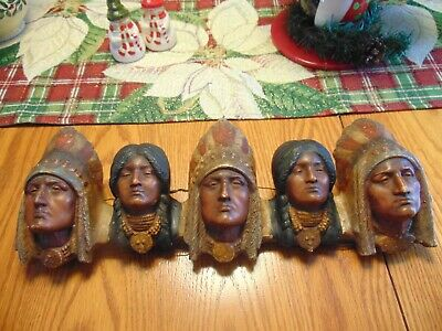 Indian Plaque 3 Chief's and 2 Indian women heads  VERY RARE