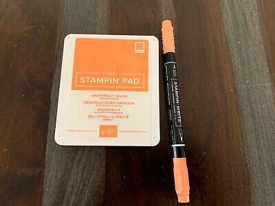 Stampin Up GRAPEFRUIT GROVE ink pad and marker EUC!
