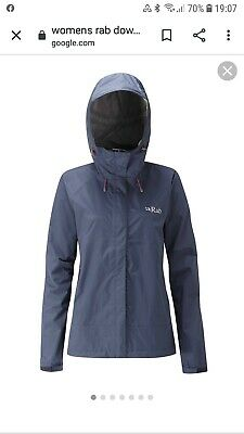Womens/Ladies RAB Downpour Waterproof Jacket Navy Size UK 12 Brand New With Tags