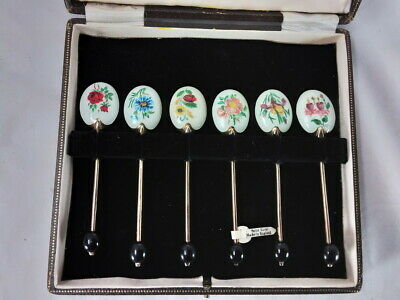 Set Of 6 Turner & Simpson Enamel & Gilt Sterling Silver Demitasse Spoons W/Case