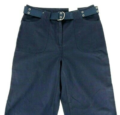 Sonoma Womens Size 8 Navy Blue Cotton Belted Capri Pants New With Tags