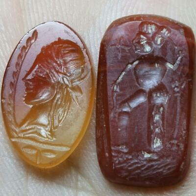 Roman Old Wonderful 2 Agate stone Seal intaglio lovely Cabochons    # 143