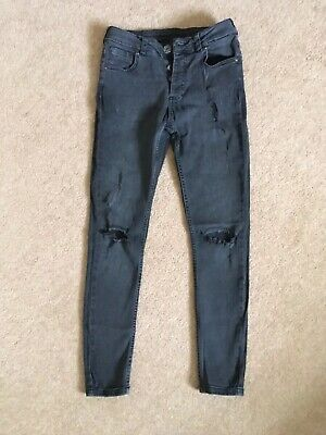 KWD Boys Faded Black Skinny Ripped Jeans Age 12-13 years