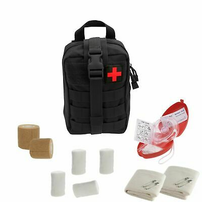 Tactical Emergency CPR Rescue Kit with MOLLE Pouch, CPR mask, First Aid Supplies