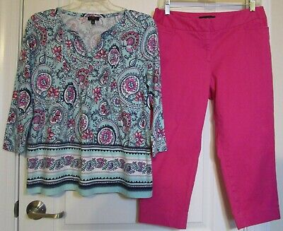Lot of 2 Talbots bright pink capris size 8P, Blue/pink floral top size PM EUC
