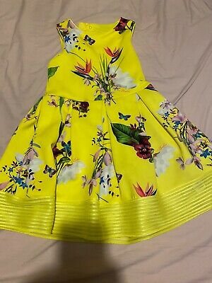 Girls Ted Baker Yellow tropical  Floral Dress. Age 9-10. Immaculate Condition