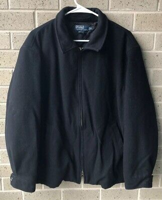 Polo Ralph Lauren Full Zip Wool Coat Jacket Quilted Lined Black Men's XL 90s PRL