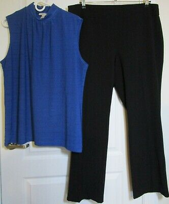 Lot of 2 Dress Barn Blue Mockneck top 2X Black pull on Roz & Ali pants 18 EUC