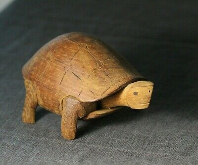 Vintage Mid Century Modern Carved Wood Turtle Figure