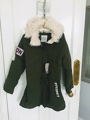 Girls Zara Khaki Parka With Faux Shearling Lined Hood Age 13/14 BNWT RRP £44.99