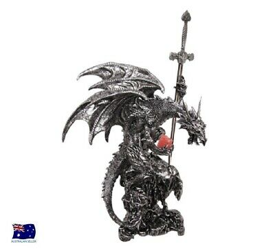 Gothic Black Silver Dragon Of The North Holding Sword Figurine 32cm DRAGGESW