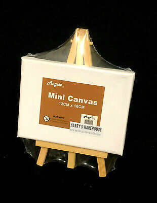 3 x Timber Easel Display Stand With Blank Canvas (12cm x 17.8cm canvas size)