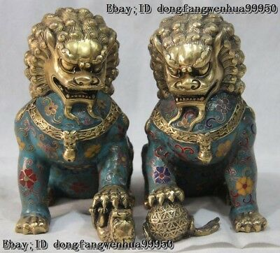 Chinese Pure Bronze Brass Wire Inlay Cloisonne Enamel Foo Dog Lion Figurine Pair