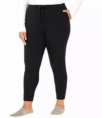 Karen Scott Plus Size 2X Womens NEW Black Solid Jogger Pants Skinny-Leg $54